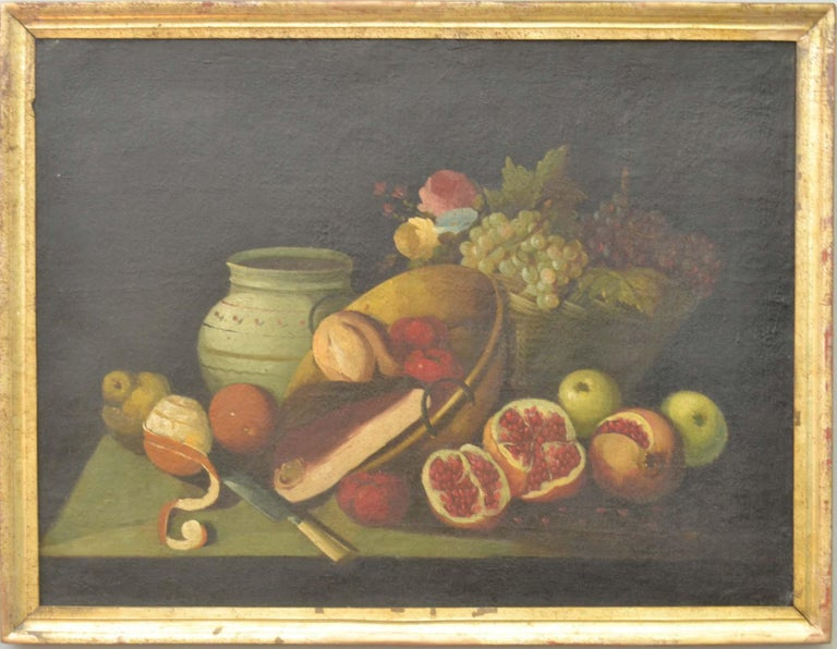 Linen Complete Series of Six Late 18th Century Spanish Still Life Oil Paintings For Sale