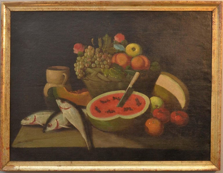 Complete Series of Six Late 18th Century Spanish Still Life Oil Paintings For Sale 2