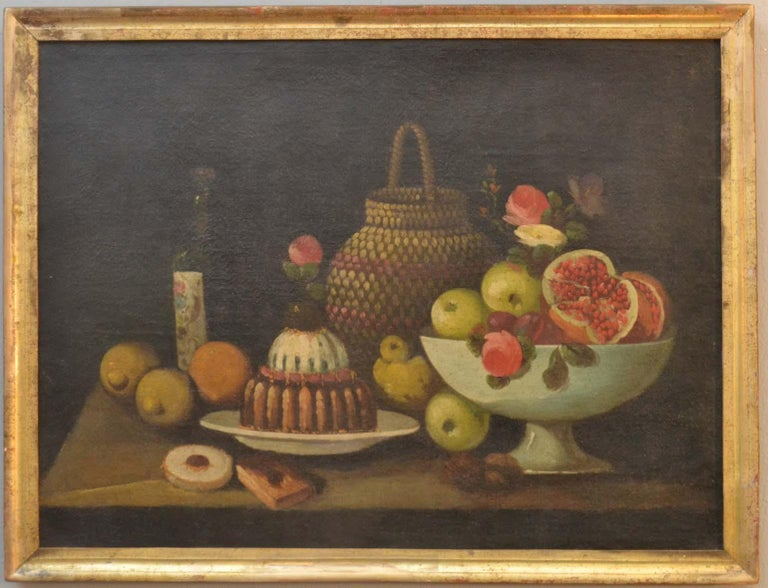 Complete Series of Six Late 18th Century Spanish Still Life Oil Paintings For Sale 4