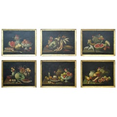Still Life Oil Paintings Series of Six 18th Century Spanish