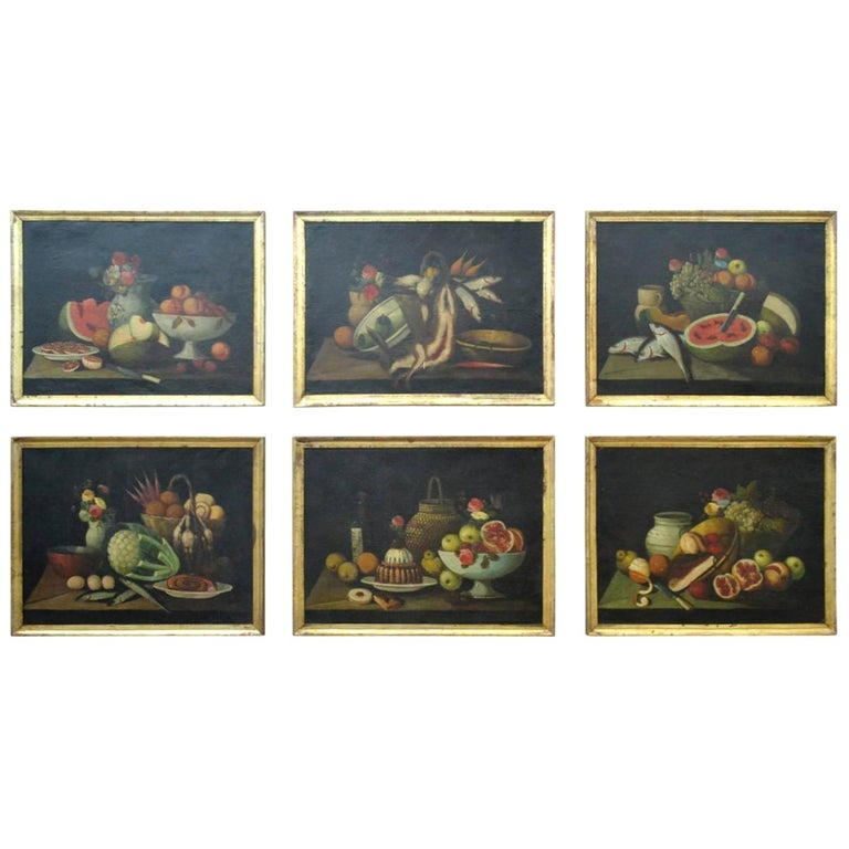 Complete Series of Six Late 18th Century Spanish Still Life Oil Paintings For Sale