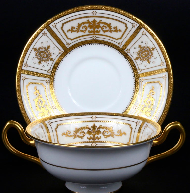 Complete Service for 12 of Minton for Tiffany Neoclassical Style Gilded Plates For Sale 3