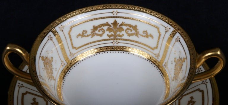Complete Service for 12 of Minton for Tiffany Neoclassical Style Gilded Plates For Sale 4