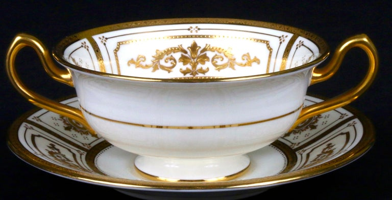 Complete Service for 12 of Minton for Tiffany Neoclassical Style Gilded Plates For Sale 5