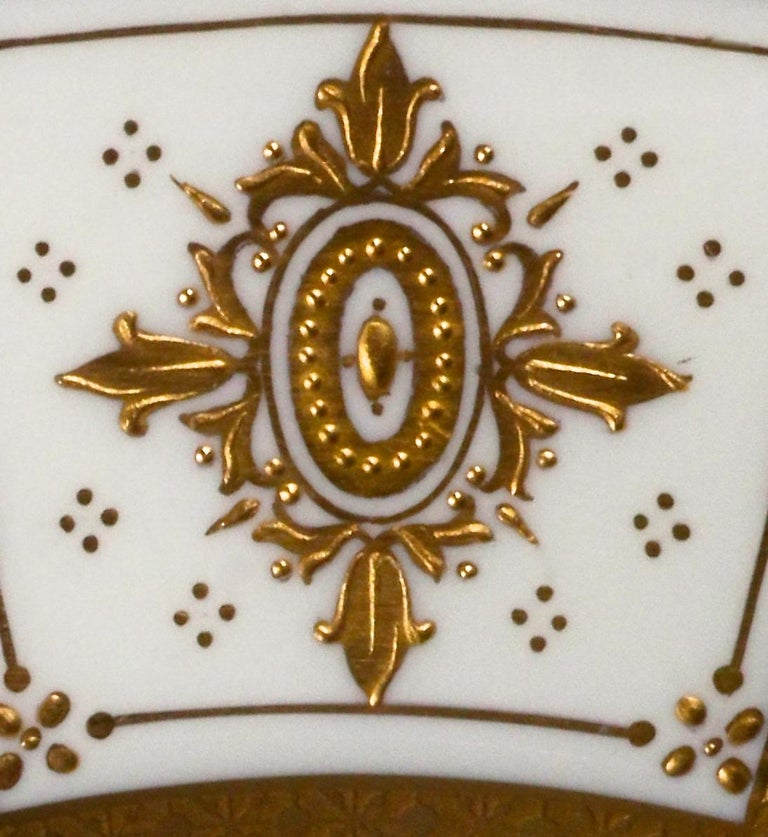 Complete Service for 12 of Minton for Tiffany Neoclassical Style Gilded Plates For Sale 9