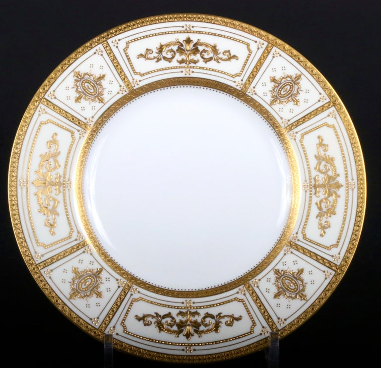 English Complete Service for 12 of Minton for Tiffany Neoclassical Style Gilded Plates For Sale