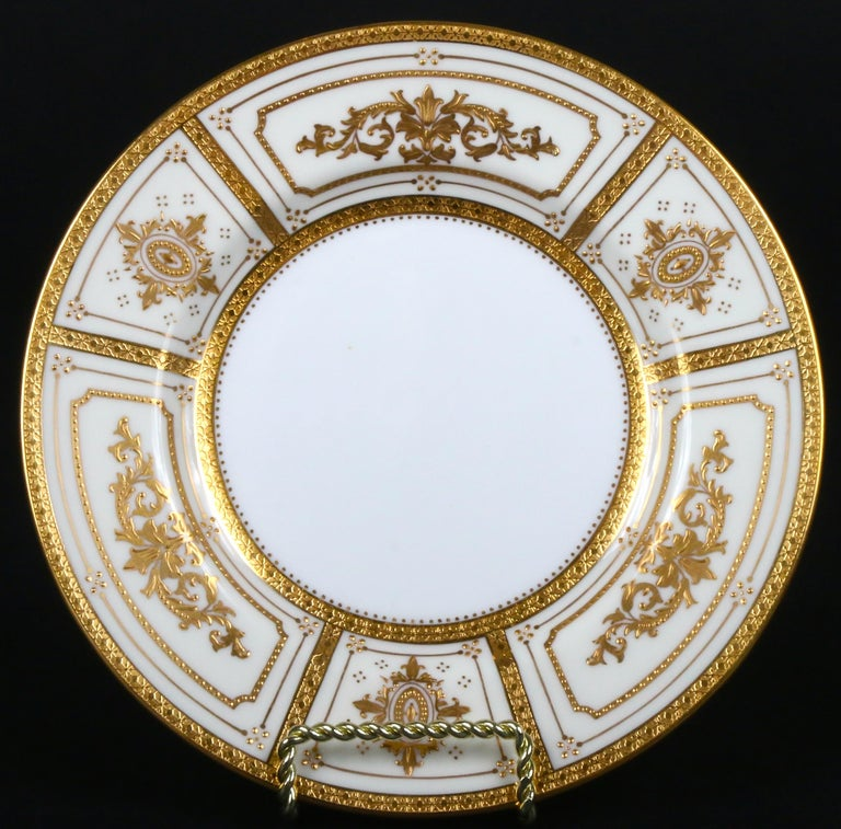 Gold Leaf Complete Service for 12 of Minton for Tiffany Neoclassical Style Gilded Plates For Sale