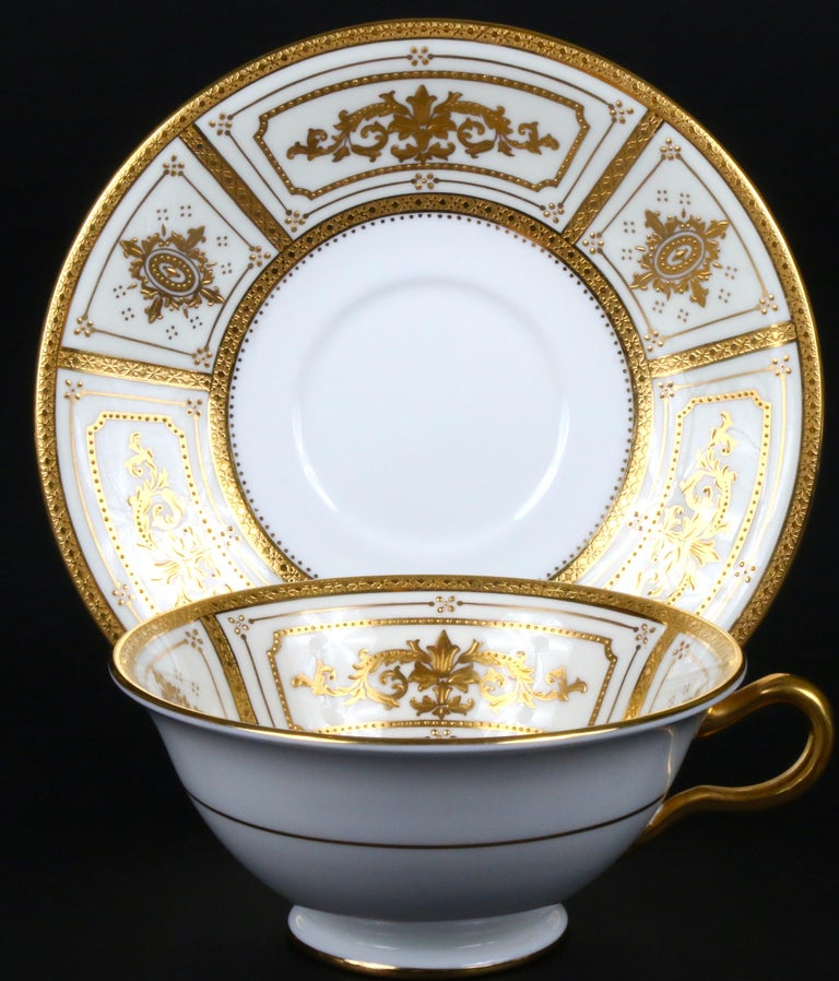 Complete Service for 12 of Minton for Tiffany Neoclassical Style Gilded Plates For Sale 1