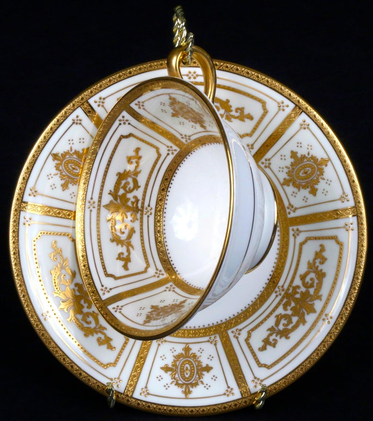 Complete Service for 12 of Minton for Tiffany Neoclassical Style Gilded Plates For Sale 2