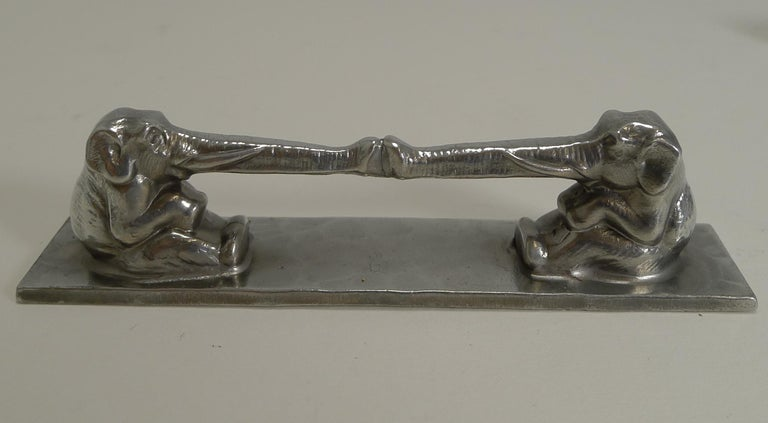 Pewter Complete Set of 12 Art Deco Knife Rests, French, Signed, Animals For Sale