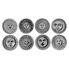 Complete Set of Eight 'Soli e Lune' Drinks Coasters by Fornasetti, Italy