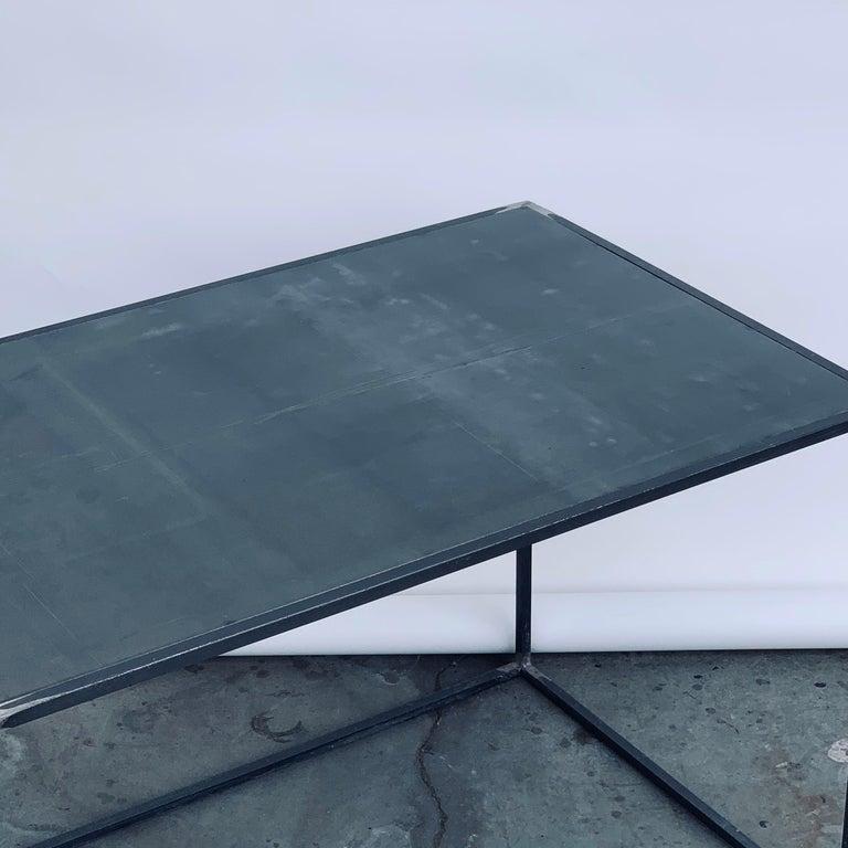 Complete Set of 'Filiforme' Minimalist Patinated Steel Living Room Tables For Sale 5