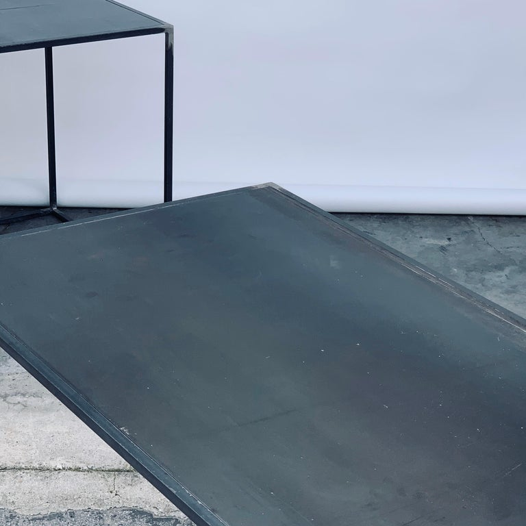 Complete Set of 'Filiforme' Minimalist Patinated Steel Living Room Tables For Sale 6