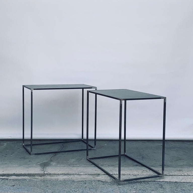 Complete Set of 'Filiforme' Minimalist Patinated Steel Living Room Tables For Sale 7