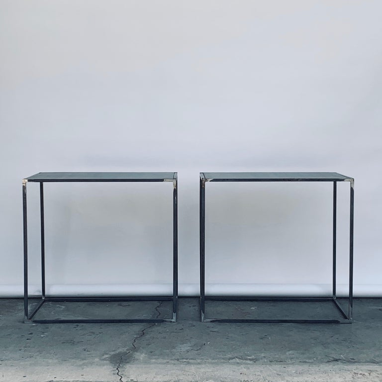 Complete Set of 'Filiforme' Minimalist Patinated Steel Living Room Tables For Sale 8