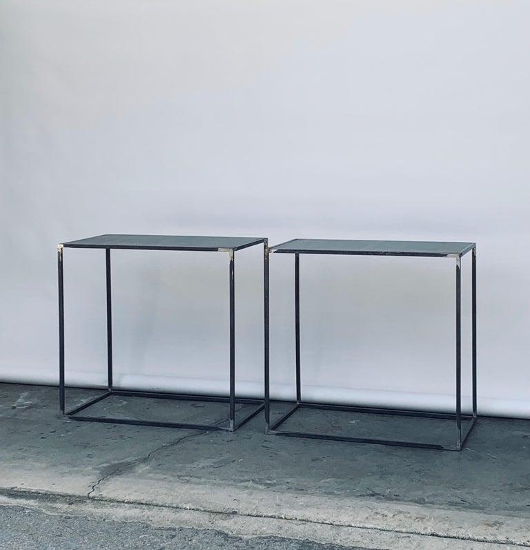 Complete Set of 'Filiforme' Minimalist Patinated Steel Living Room Tables For Sale 9