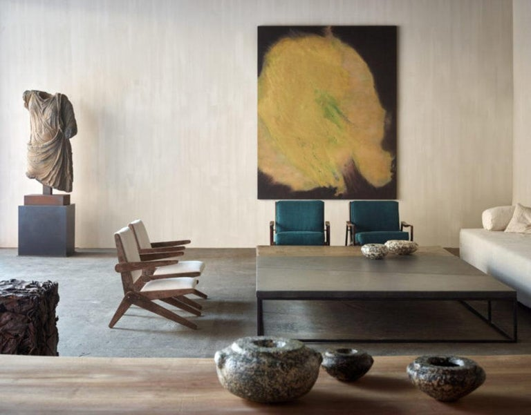 Complete Set of 'Filiforme' Minimalist Patinated Steel Living Room Tables For Sale 13