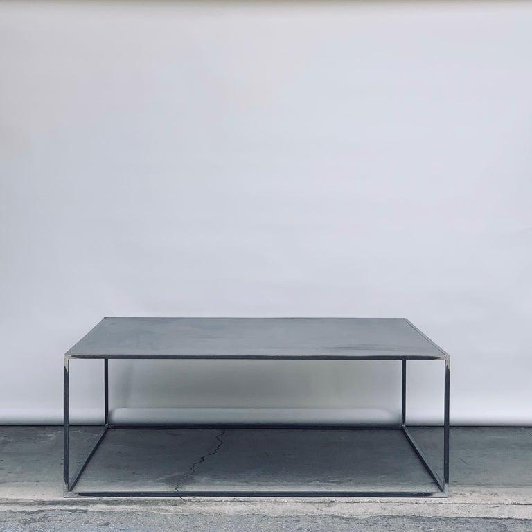 American Complete Set of 'Filiforme' Minimalist Patinated Steel Living Room Tables For Sale