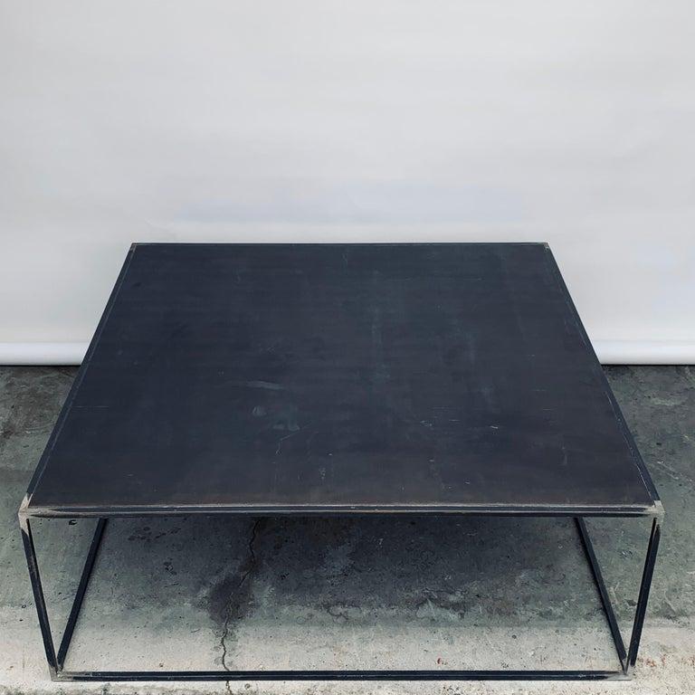 Complete Set of 'Filiforme' Minimalist Patinated Steel Living Room Tables For Sale 1