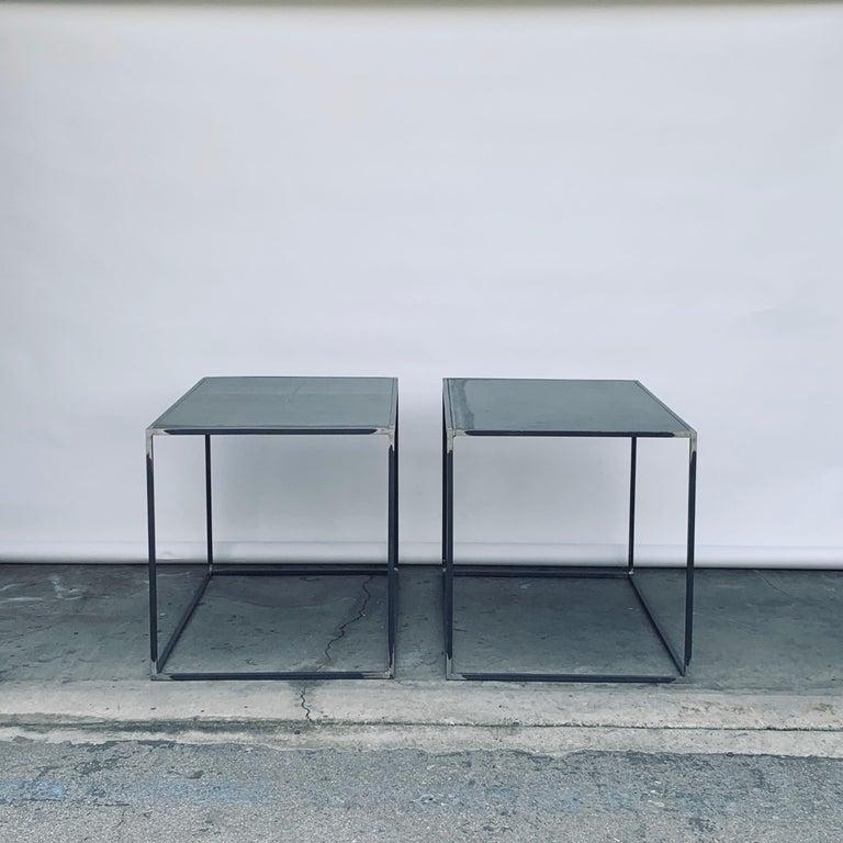 Complete Set of 'Filiforme' Minimalist Patinated Steel Living Room Tables For Sale 2