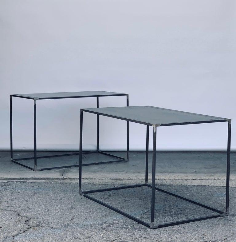 Complete Set of 'Filiforme' Minimalist Patinated Steel Living Room Tables For Sale 3