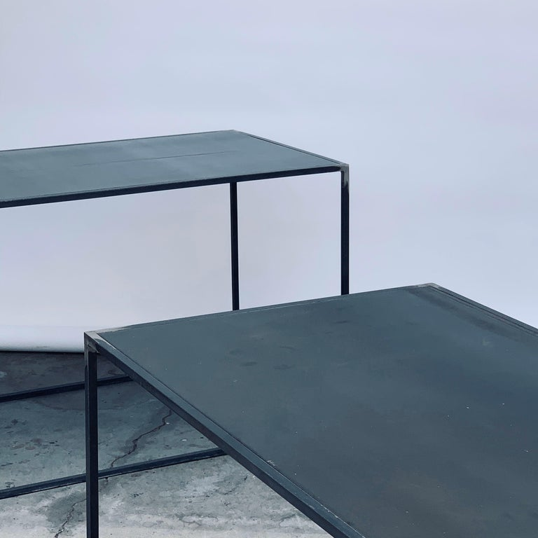 Complete Set of 'Filiforme' Minimalist Patinated Steel Living Room Tables For Sale 4