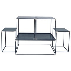 Complete Set of 'Filiforme' Minimalist Patinated Steel Living Room Tables
