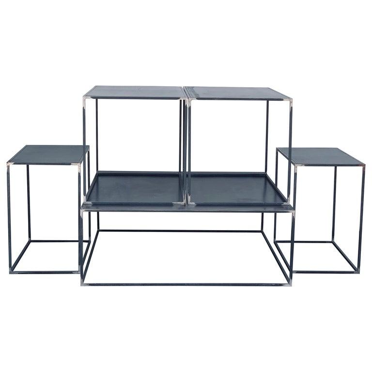 Complete Set of 'Filiforme' Minimalist Patinated Steel Living Room Tables For Sale