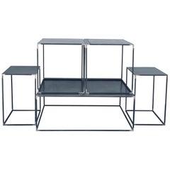 Complete Set of 'Filiforme' Minimalist Patinated Steel Living Room Tables