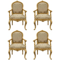 Complete Set of Four Italian 18th Century Transitional Period Armchairs