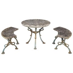 Complete Set of French Patinated Blue Wrought Iron and Stone Table and Benches