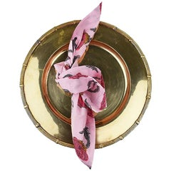 Complete Set of Pink Cloth Napkins and Faux Bamboo Brass Place Setting Set of 4