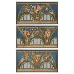 Complete Set of Three Italian Neoclassical Style Neapolitan Gouaches