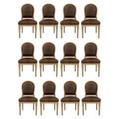 Complete Set of Twelve French 19th Century Louis XVI St. Dining Chairs