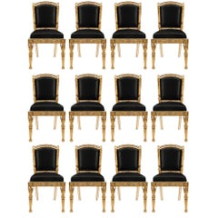 Complete Set of Twelve Italian 19th Century Neoclassical Style Dining Chairs