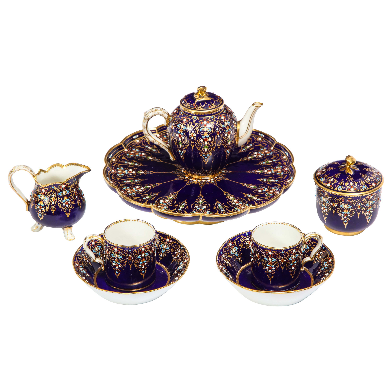 Complete Sevres Porcelain Cobalt Blue, Jeweled, Enameled, and Gilt Tea Service
