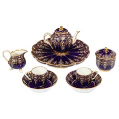 Complete Sevres Porcelain Cobalt Blue, Jeweled, Enameled, and Gilt Tea Service