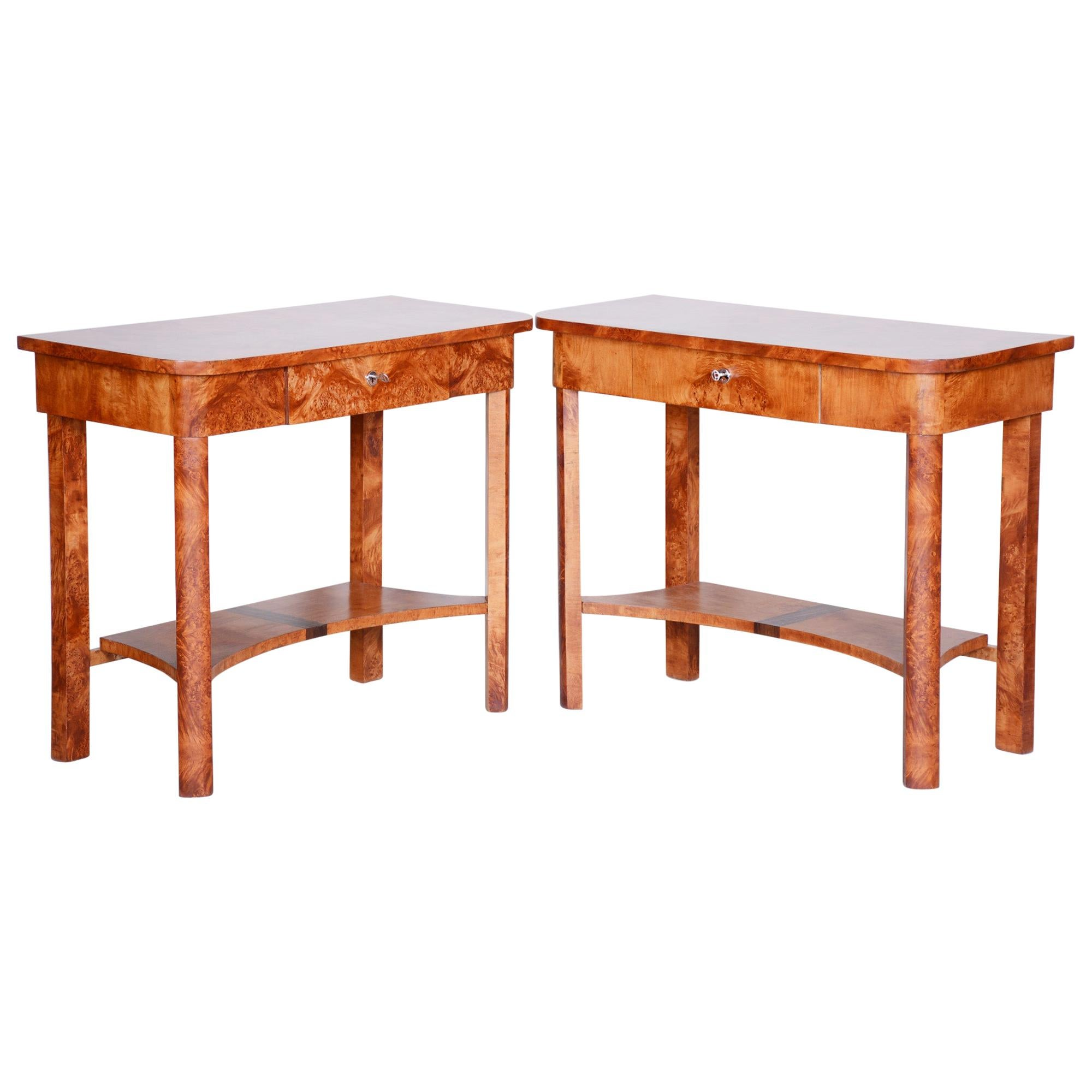 Completely Restored ArtDeco Pair of Brown Elm Side Tables, Czechia, 1920s