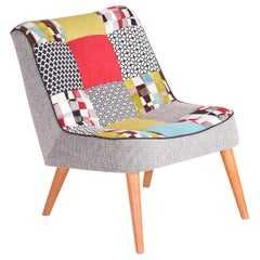 Completely Restored Czech Midcentury Small Colorful Beech Armchair, 1950s