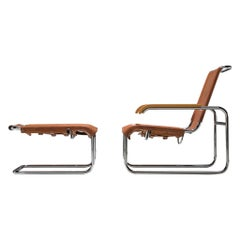 Completely Restored Marcel Breuer Cognac Leather Lounge Chair with Ottoman
