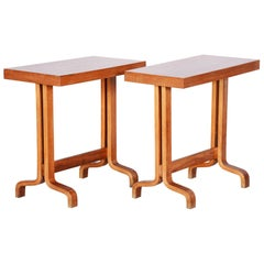 Completely Restored Pair of Czech Mahogany Small Side Tables, 1960s