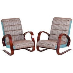 Completely Restored Pair of Walnut Art Deco Armchairs by Miroslav Navrátil