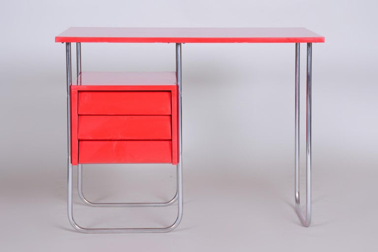 Bauhaus Completely Restored Red Functionalism Chrome Writing Desk, Czechia, 1940s