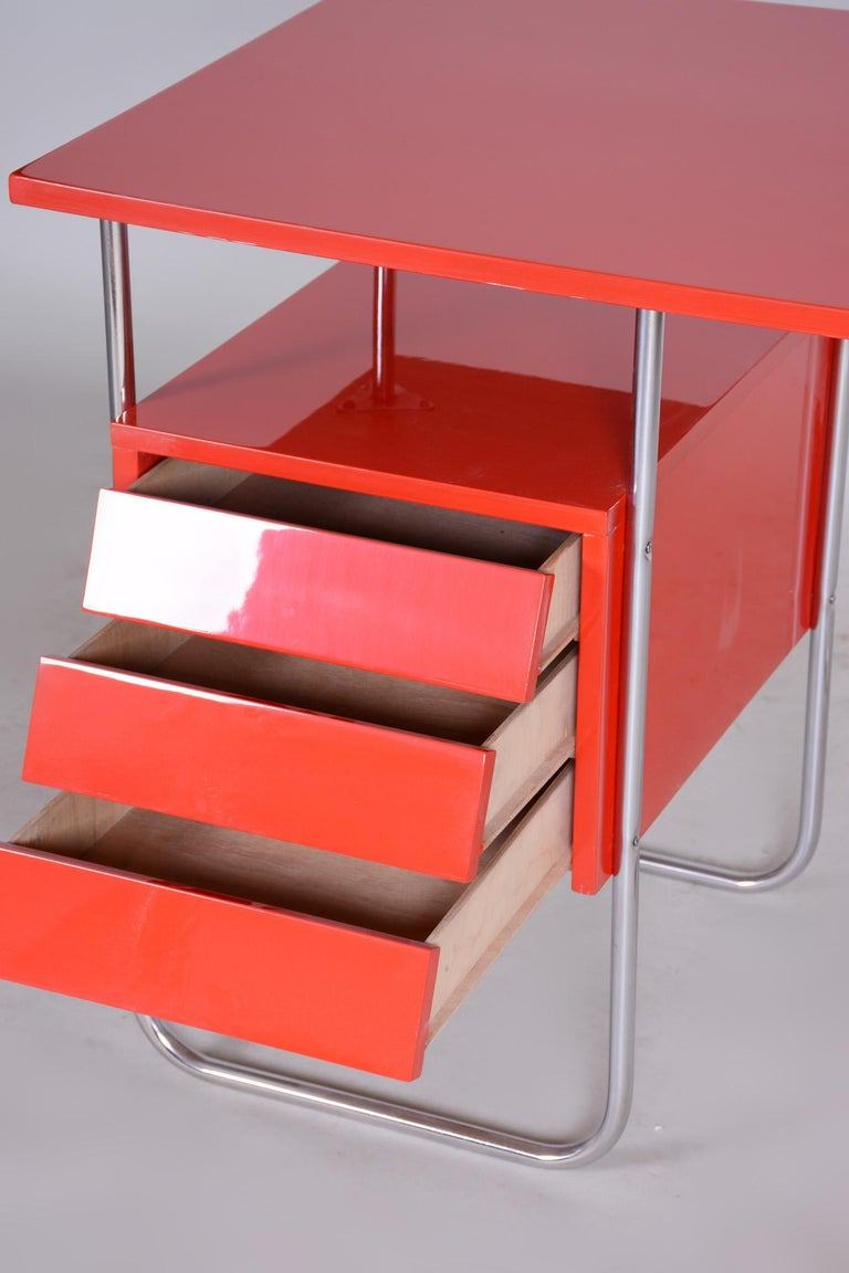 20th Century Completely Restored Red Functionalism Chrome Writing Desk, Czechia, 1940s