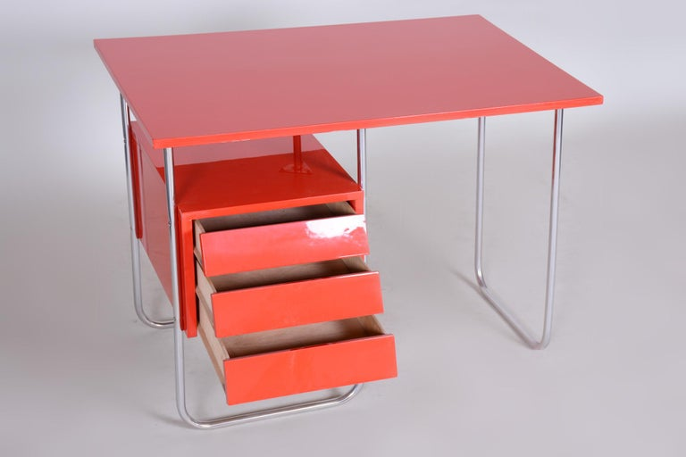 Completely Restored Red Functionalism Chrome Writing Desk, Czechia, 1940s 1