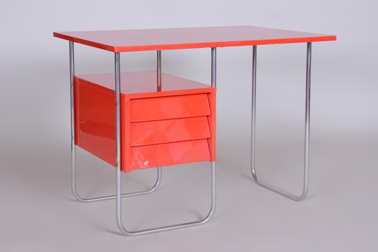 Completely Restored Red Functionalism Chrome Writing Desk, Czechia, 1940s 3