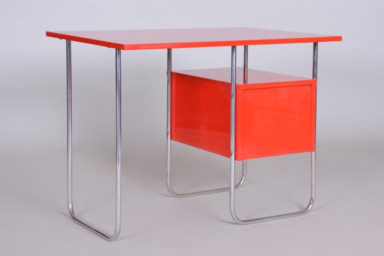 Completely Restored Red Functionalism Chrome Writing Desk, Czechia, 1940s 4