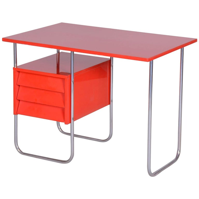 Completely Restored Red Functionalism Chrome Writing Desk, Czechia, 1940s