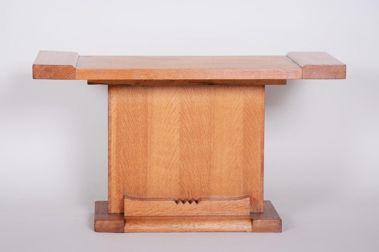 Art Deco small table Completely restored Material: Oak. Source: France Period: 1920-1929.