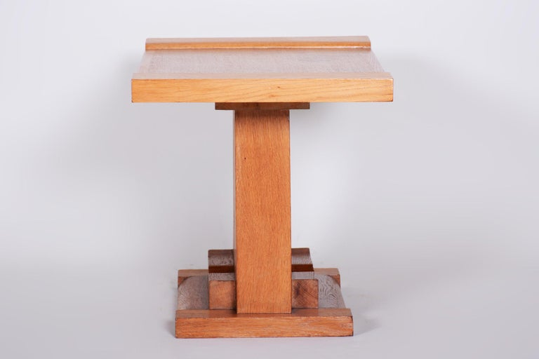 Early 20th Century Completely Restored Small Art Deco Oak Table, France, 1920s For Sale